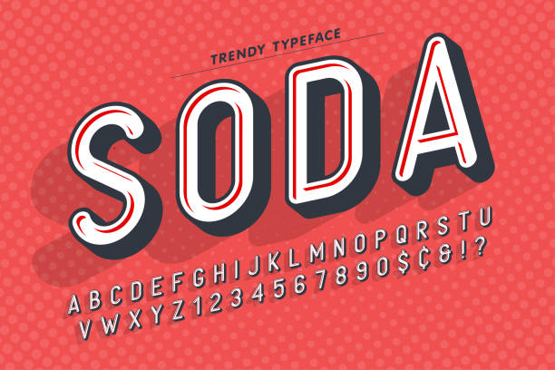 condensed display font popart design, alphabet, letters and numb - поп арт stock illustrations