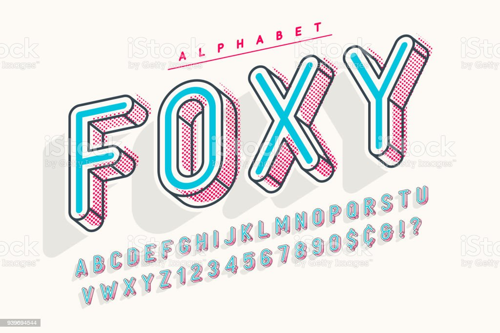 Condensed display font popart design, alphabet, letters and numbers. vector art illustration