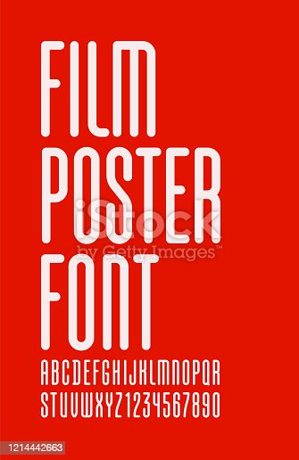 Condensed font, trendy high alphabet sans serif, modern white Latin letters and Arab numbers, for your designs: logo, movie banner, cinema poster and more, vector illustration 10EPS
