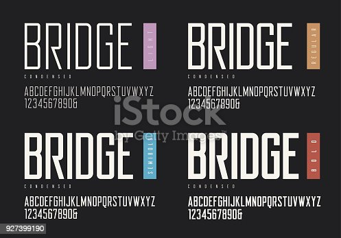 Condensed light regular semibold bold sans serif. Vector typefaces, uppercase alphabet with letters and numbers, font, typography. Global swatches.