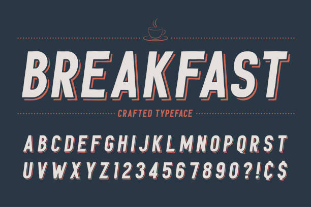 condensed retro display font design, alphabet, character set, ty - breakfast stock illustrations