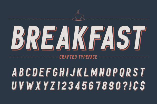 ilustraciones, imágenes clip art, dibujos animados e iconos de stock de diseño de fuente de pantalla retro condensada, alfabeto, conjunto de caracteres, ty - desayuno