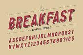Condensed retro display font design, alphabet, character set, ty