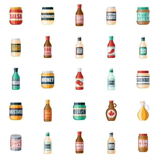 Condiments and Sauces Icon Set A set of icons. File is built in the CMYK color space for optimal printing. Color swatches are global so it's easy to edit and change the colors. maple syrup stock illustrations