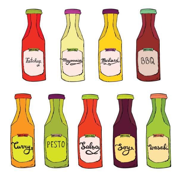 gewürze-satz. ketchup-flasche, glas mayonnaise, curry, salsa, pesto, bbq, soja, wasabi-dressing. - dressing stock-grafiken, -clipart, -cartoons und -symbole