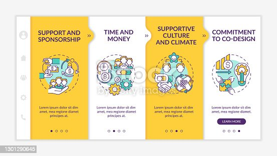 Conditions for collaborative design onboarding vector template. Support, sponsorship. Time and money. Responsive mobile website with icons. Webpage walkthrough step screens. RGB color concept
