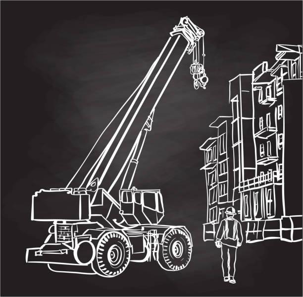 Condo Construction Crane Chalkboard vector art illustration