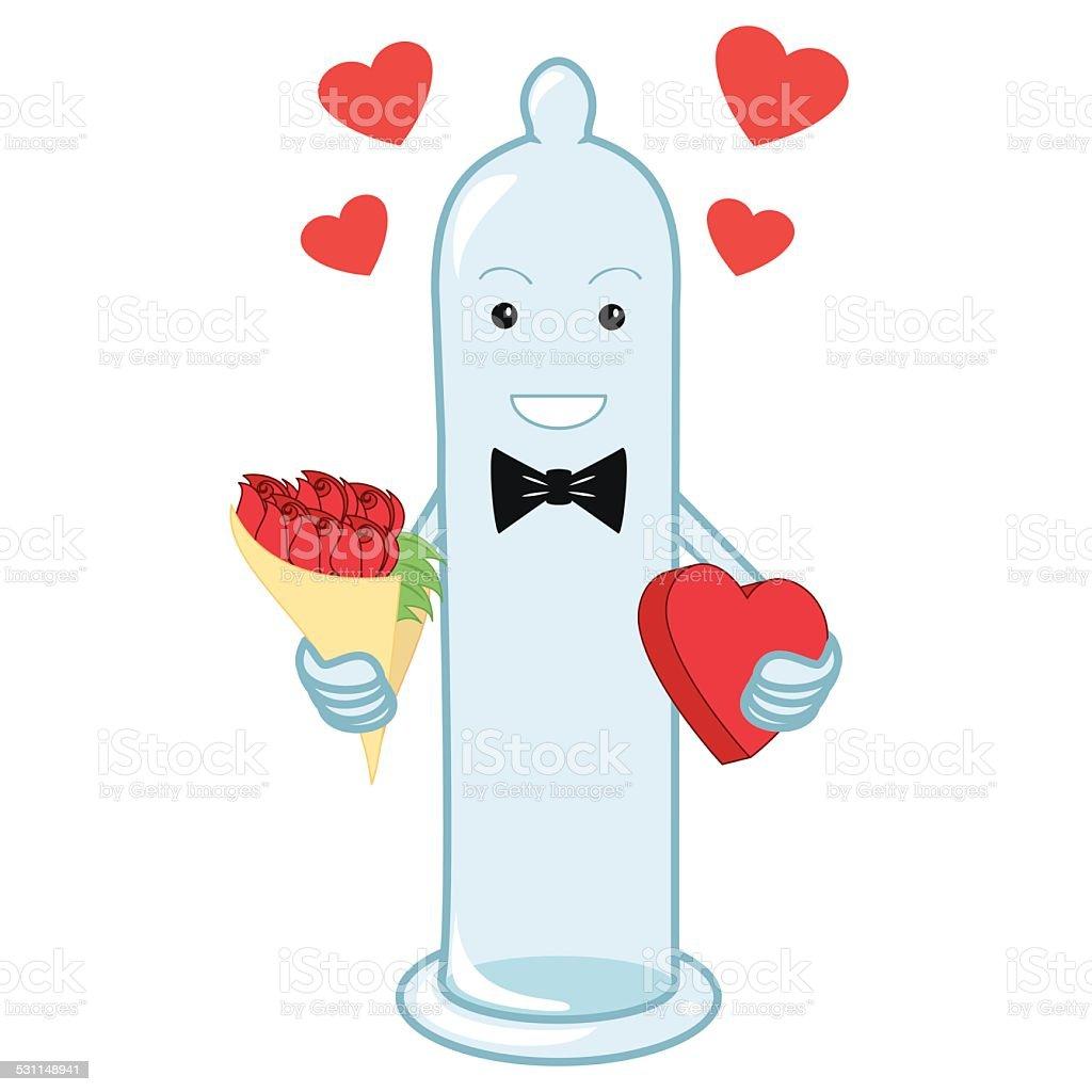 Condom character vector art illustration