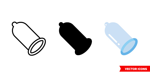 Condom icon of 3 types. Isolated vector sign symbol