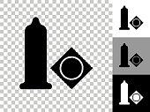 istock Condom Icon on Checkerboard Transparent Background 1225807454
