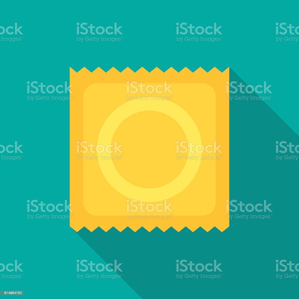 Condom icon with long shadow. vector art illustration