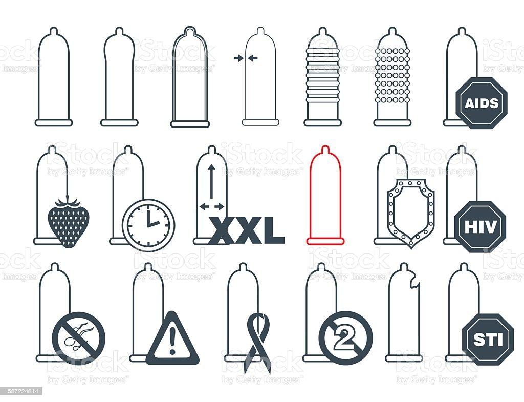 Condom icons set vector art illustration