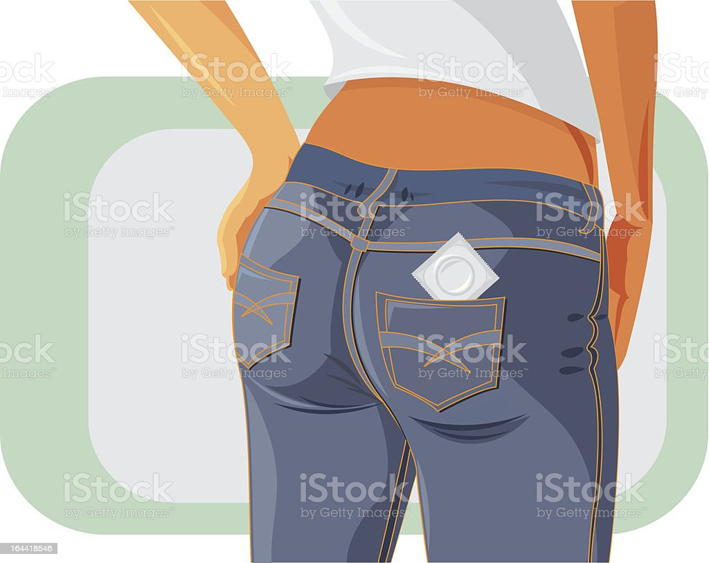 Condom in the pocket royalty-free stock vector art