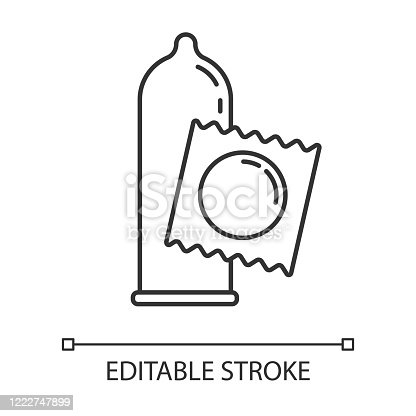 istock Condom linear icon. Female, male contraceprive for safe sex. AIDs protection. Pregnancy prevention. Thin line illustration. Contour symbol. Vector isolated outline drawing. Editable stroke 1222747899