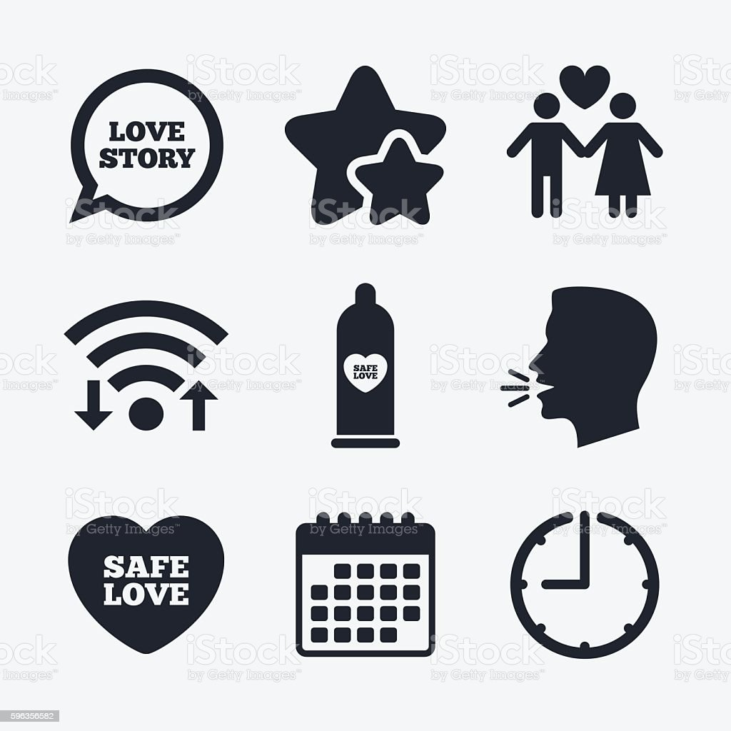 Condom safe sex icons. Lovers couple sign. royalty-free condom safe sex icons lovers couple sign stock vector art & more images of aids