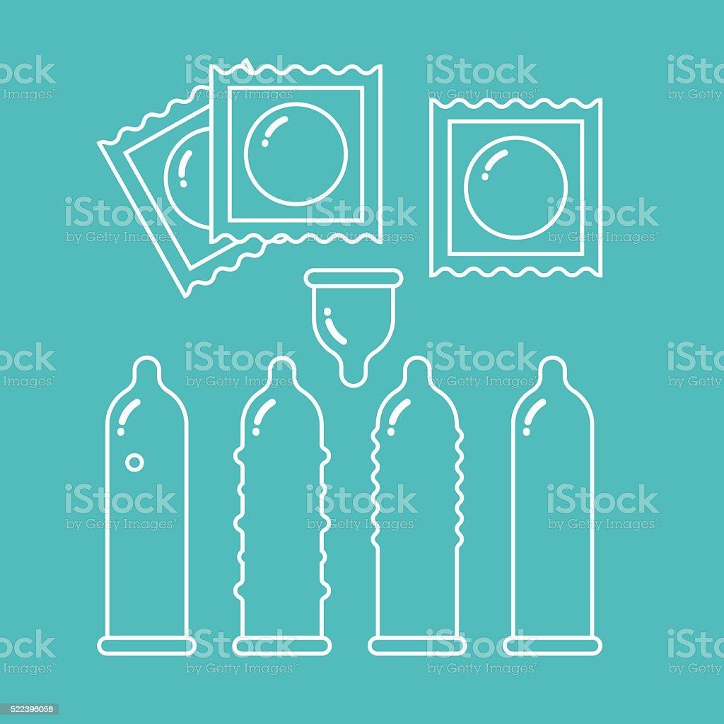 Condoms set and packages - contraception symbols vector art illustration