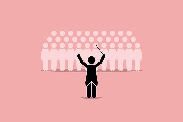 bildbanksillustrationer, clip art samt tecknat material och ikoner med conductor conducting a choir group. - orkester