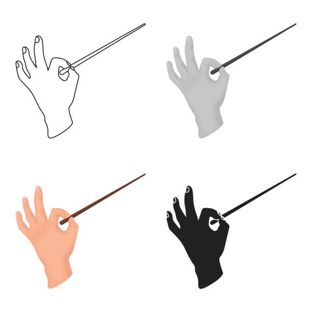 dirigenten-orchester-symbol im cartoon-stil, die isoliert auf weißem hintergrund. theater-symbol lager web vektorgrafik - bandleader stock-grafiken, -clipart, -cartoons und -symbole