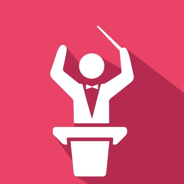 dirigenten-orchester. sound und musik-symbol. - bandleader stock-grafiken, -clipart, -cartoons und -symbole