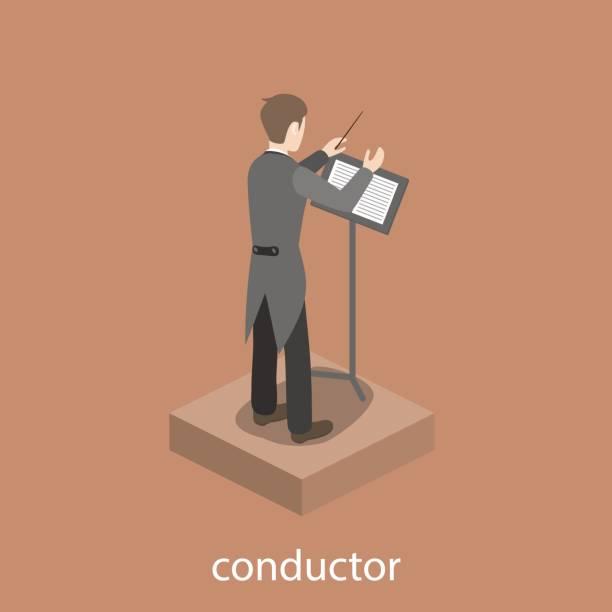 dirigent solo männliche begleitung flach 3d web isometrische infografik konzept vektor - bandleader stock-grafiken, -clipart, -cartoons und -symbole