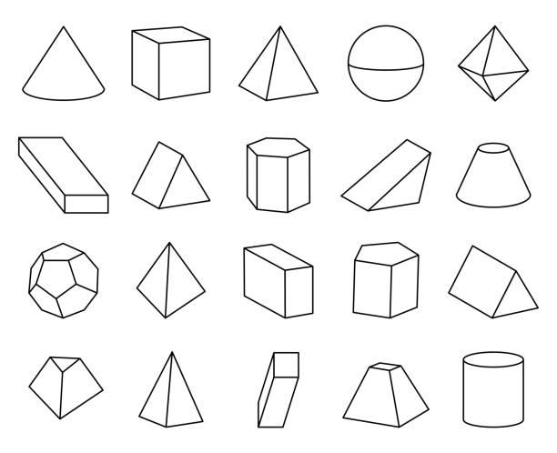 stockillustraties, clipart, cartoons en iconen met vectorillustratie kegel- en piramidevormen instellen - veelvlakkig