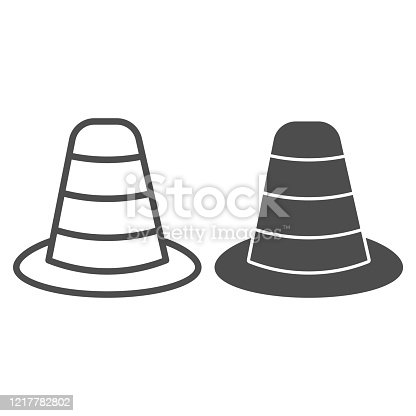 istock Cone divider on the road line and solid icon. Traffic cone outline style pictogram on white background. Emergencies road symbol for mobile concept and web design. Vector graphics. 1217782802