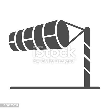 Cone meteorology windsock solid icon, golf concept, Wind direction indicator sign on white background, wind vane icon in glyph style for mobile concept and web design. Vector graphics