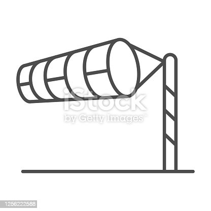 Cone meteorology windsock thin line icon, golf concept, Wind direction indicator sign on white background, wind vane icon in outline style for mobile concept and web design. Vector graphics