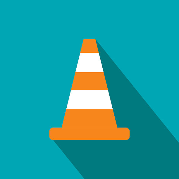 Cone traffic flat icon – Vektorgrafik