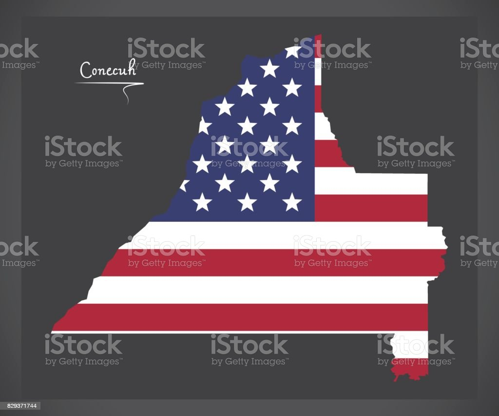 Conecuh County Map Of Alabama Usa With American National Flag