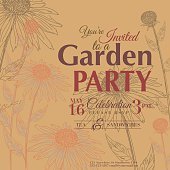 Coneflower Design Garden Party Invitation.  The flowers are align vertically high along the right, left and shorter along bottom of invitation with the text above the bottom flowers.  The flowers are brown and opaque orange on a tan background.  The text is done in brown and red.