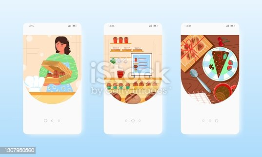 istock Confectioner Baker selling cakes, sweet pastry. Mobile app screens, vector website banner template. UI, web site design. 1307950560