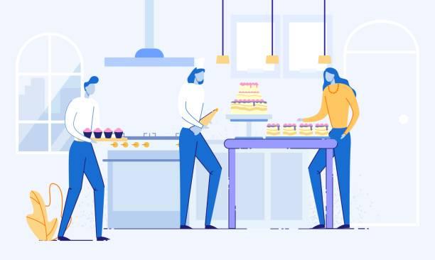 bildbanksillustrationer, clip art samt tecknat material och ikoner med confectioner dekorera bröllopstårta med crem. - arbeta köksbord man