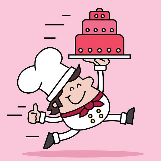 confectioner mit kuchen - desmond koch stock-grafiken, -clipart, -cartoons und -symbole