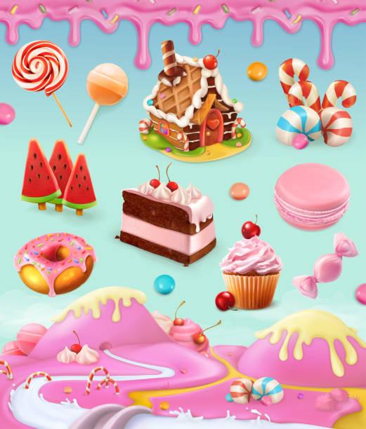 糖果和甜點, 蛋糕, 蛋糕, 糖果, 棒糖, 生奶油, 糖衣, 一套向量圖形物件與甜粉紅色背景, 網格插圖 - 陸地 幅插畫檔、美工圖案、卡通及圖標