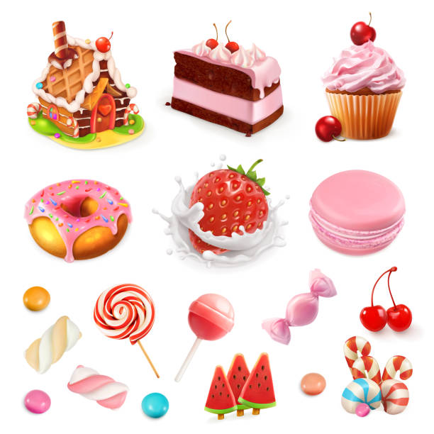 Confectionery and desserts. Strawberry and milk, cake, cupcake, candy, lollipop. Pink 3d vector icon set Confectionery and desserts. Strawberry and milk, cake, cupcake, candy, lollipop. Pink 3d vector icon set candy silhouettes stock illustrations