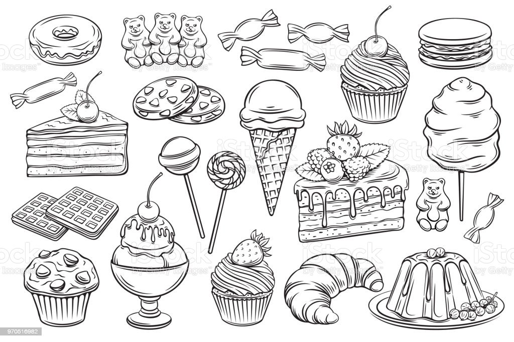 confectionery and sweets icons - Royalty-free Algodão arte vetorial