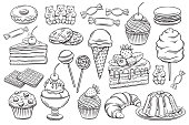 Vector hand drawn set confectionery and sweets icons. Dessert, lollipop, ice cream with candies, macaron and pudding. Donut and cotton candy, muffin, waffles, biscuits and jelly. Sketch illustration.