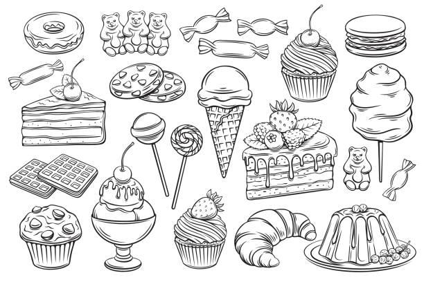 ikony słodyczy i słodyczy - ciasto stock illustrations