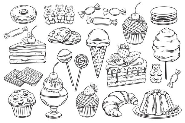 confectionery and sweets icons Vector hand drawn set confectionery and sweets icons. Dessert, lollipop, ice cream with candies, macaron and pudding. Donut and cotton candy, muffin, waffles, biscuits and jelly. Sketch illustration. cake stock illustrations