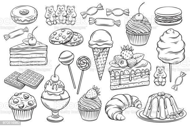 Confectionery And Sweets Icons - Arte vetorial de stock e mais imagens de Algodão