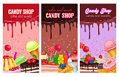 Posters template with confectionery and sweets. Dessert, lollipop, ice cream with candied, macaron and pudding. Donut and cotton candy, muffin, waffles, biscuits and jelly.
