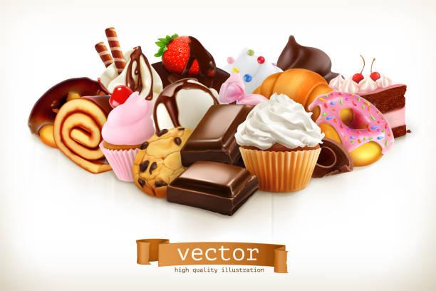 ilustraciones, imágenes clip art, dibujos animados e iconos de stock de confitería. chocolate, pasteles, cupcakes, donuts. 3d ilustración de vectores - postre