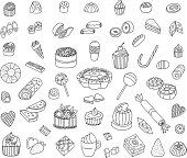 Confectionery Doodles Set. Sweets, cakes, cream cakes, muffins and others. Vector Illustration.