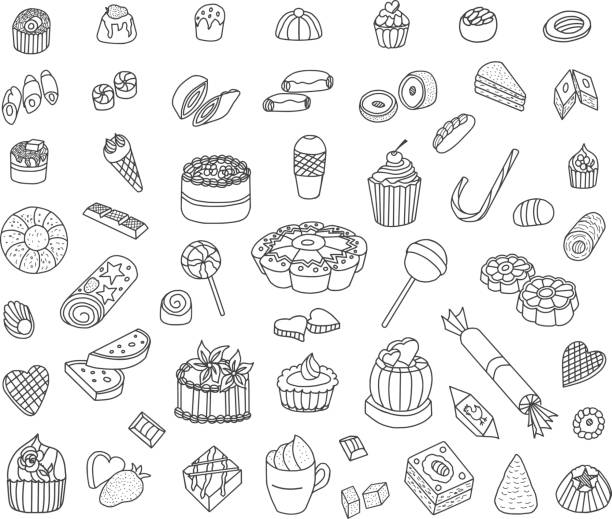 Confectionery Doodles Confectionery Doodles Set. Sweets, cakes, cream cakes, muffins and others. Vector Illustration. candy drawings stock illustrations