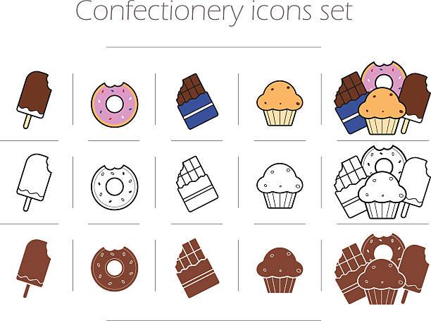 konditorei icons set - tortenriegel stock-grafiken, -clipart, -cartoons und -symbole
