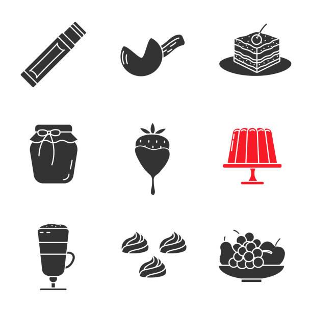 konditorei icons - tiramisu stock-grafiken, -clipart, -cartoons und -symbole