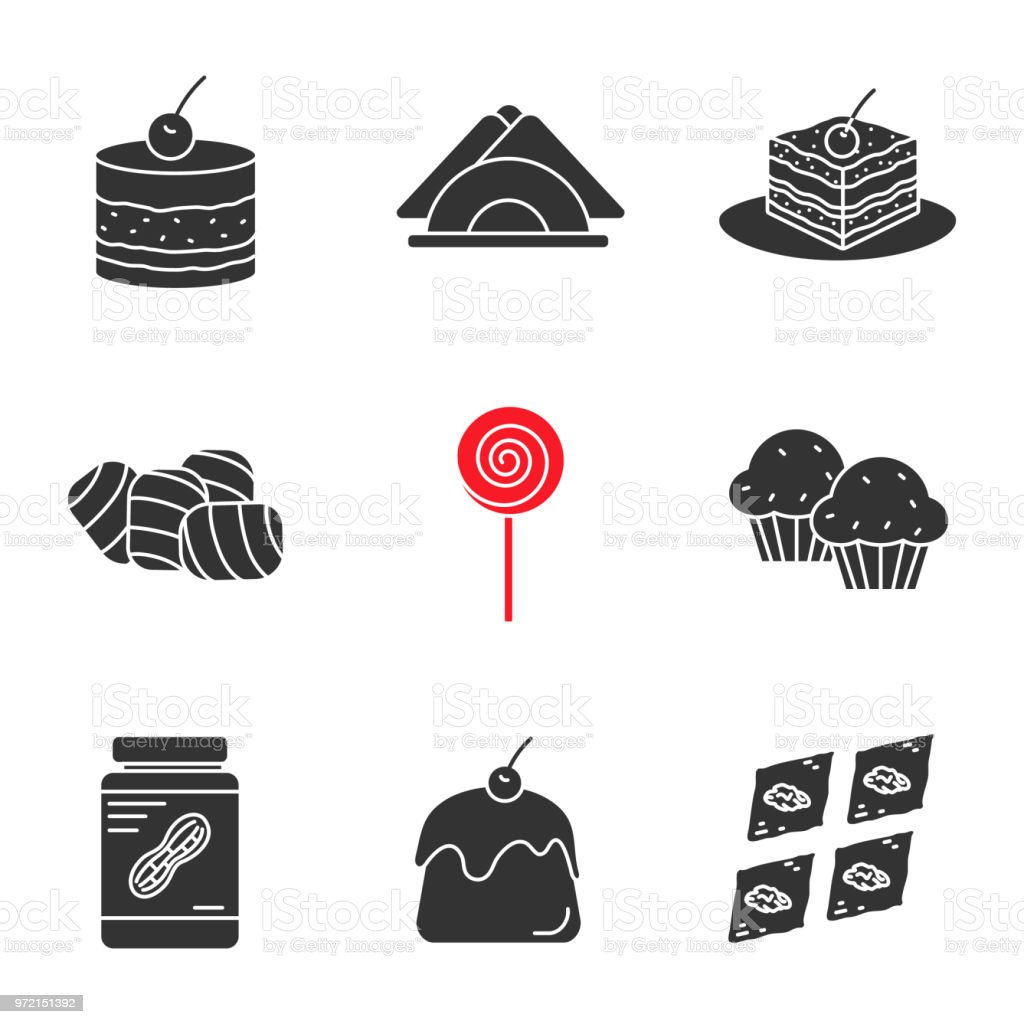Confectionery icons vector art illustration