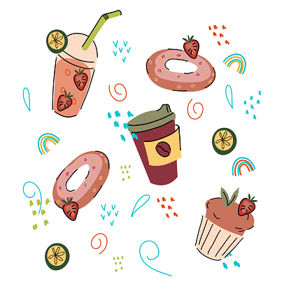 Confectionery or pastry sweet food and drinks set doodle vector illustration isolated.