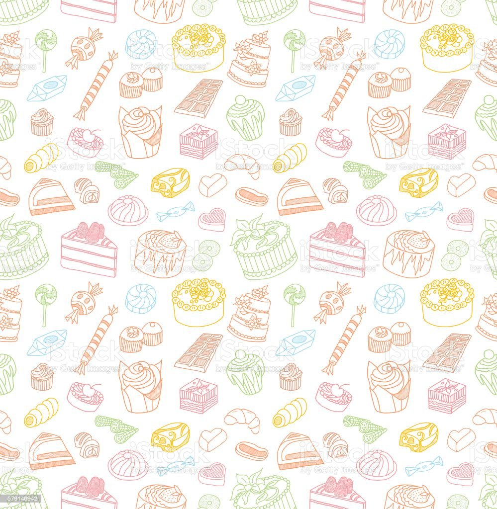 Confectionery Seamless Doodles ベクターアートイラスト